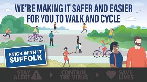 An image showing lots of cartoon people walking and cycling. It says, We're making it safer and easier for you to walk and cycle.