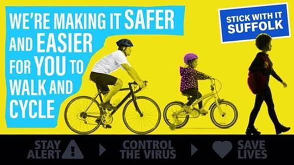 Yellow image with two cyclists and a pedestrian.