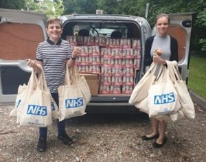 Brother and Sister deliver goody bags to NHS Staff