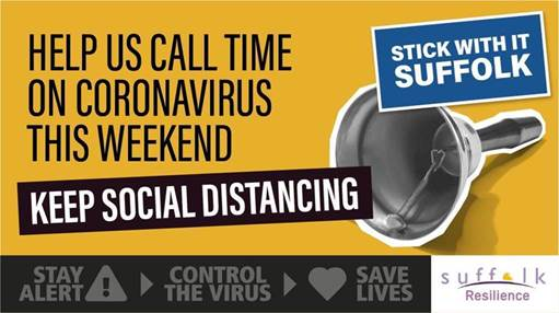 Help us call time on coronavirus this weekend. Keep Social Distancing, Stick With It Suffolk. (there is an image of a hand bell)