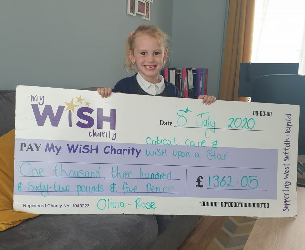 Olivia-Rose's walk raises over £1,000 for MyWiSH Charity
